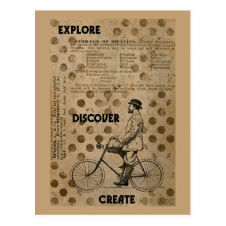 Explore Discover Create Man on Bicycle Postcard