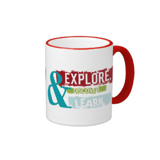 """""""explore discover learn""""   everyday mugs"""
