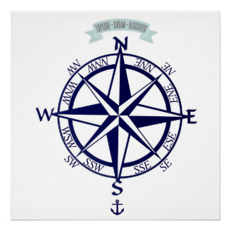 Explore-Dream-Discover Compass with anchor Print