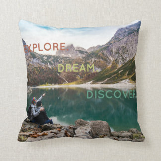 Explore Dream Discover Cotton Throw Pillow