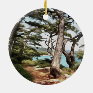 Explore Dream Discover Round Ceramic Ornament