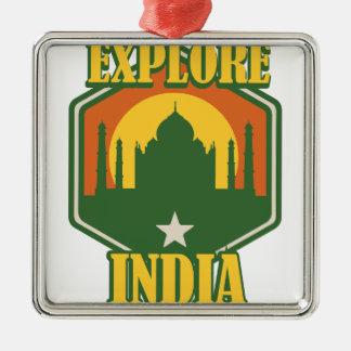 Explore India Silver-Colored Square Ornament