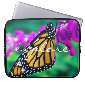 """Explore"" monarch butterfly photo laptop sleeve"