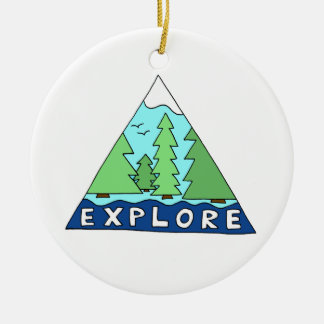 Explore Nature Outdoors Wilderness Mountains Ceramic Ornament