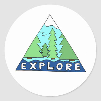 Explore Nature Outdoors Wilderness Mountains Round Sticker