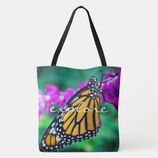 """Explore"" orange monarch butterfly photo tote bag"