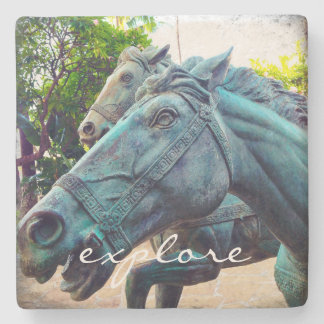 """Explore"" Quote Asian Turquoise Horse Statue Photo Stone Coaster"