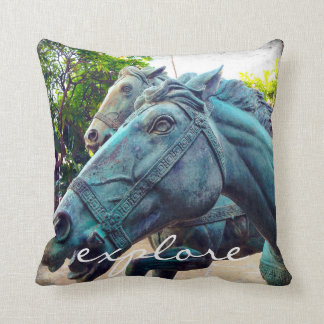 """""""Explore"""" quote Asian turquoise horse statue photo Throw Pillow"""