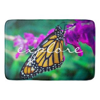 """Explore"" Quote Orange Monarch Butterfly Photo Bath Mat"
