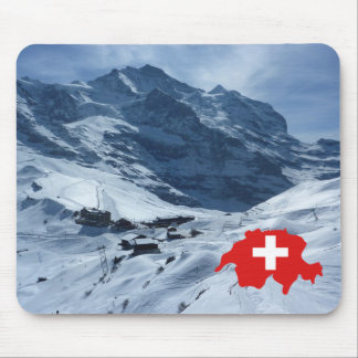 Explore Switzerland, Swiss scene, map with flag Mouse Pad