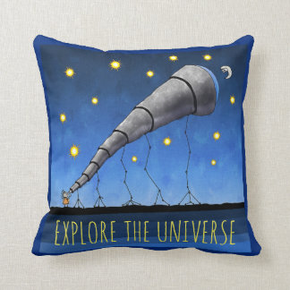 Explore the Universe Telescope and Text Throw Pillow
