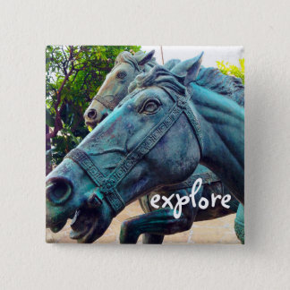 """Explore"" turquoise blue Asian horse statue photo 2 Inch Square Button"