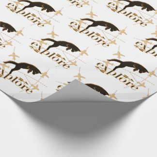 Explorer Theme with Pouncing Woodland Fox Wrapping Paper