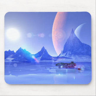 Exploring an Ice Planet Sci-Fi Art Mouse Pad