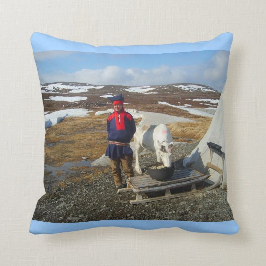 Exploring Norway, Sami settlement Lapland Throw Pillow