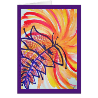 Explosion in orange and yellow and purple feather card