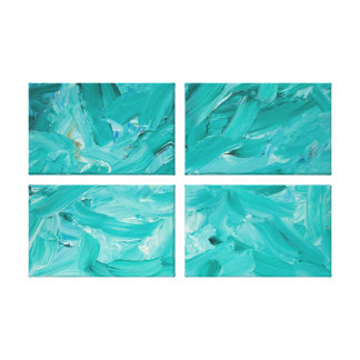 Explosion in Teal Stretched Canvas Prints