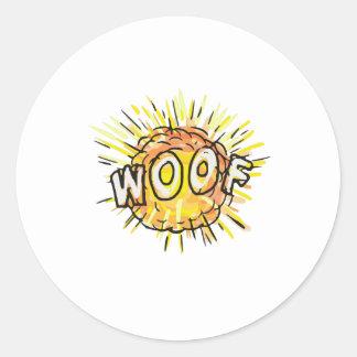 Explosion Woof Cartoon Classic Round Sticker