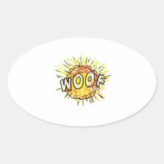 Explosion Woof Cartoon Oval Sticker