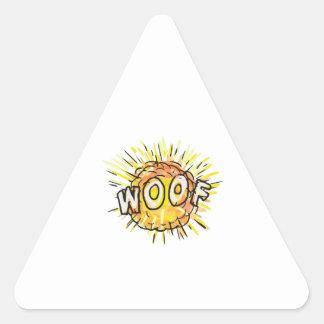Explosion Woof Cartoon Triangle Sticker