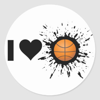 Explosive I Love Basketball Round Stickers