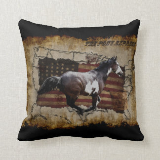 Express Pony Pinto Horse Throw Pillow