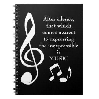 Expression du carnet inexprimable de musique