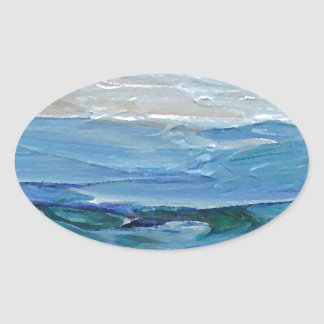 Expression of the Sea - Ocean Decor Oval Stickers