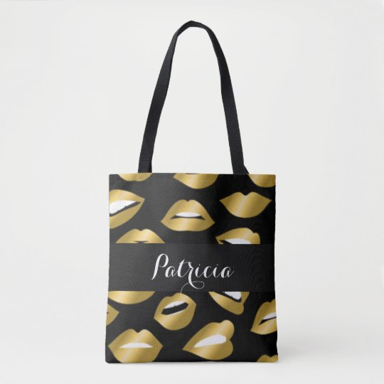 Expressional Gold Lips Typography Tote Bag