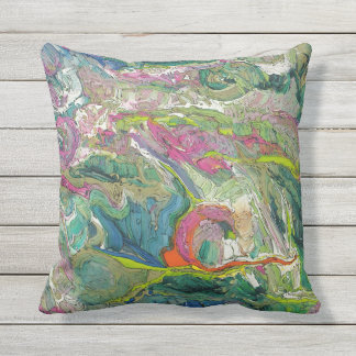 Expressionism Abstract Art Colorful Outdoor Pillow