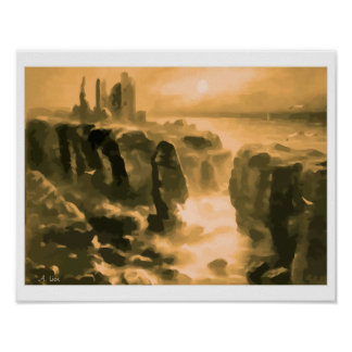 Expressionist painting Castle Girnigoe Wick Print