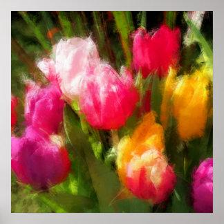 Expressionistic Spring Tulip Explosion Print