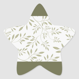 Expressive Olive green floral leaves we Star Stickers