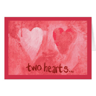 Expressive two red hearts greeting card