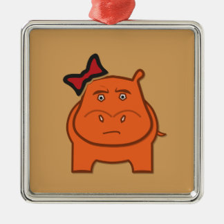 Expressively Playful Dianne Silver-Colored Square Ornament
