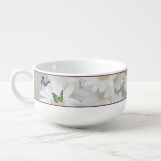 Exquisite Butterflies and Daisies 24 oz. Soup Mug