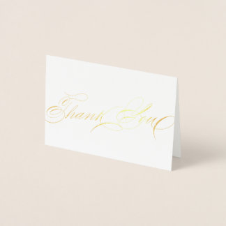 Exquisite Elegant Calligraphy Thank you Script Foil Card