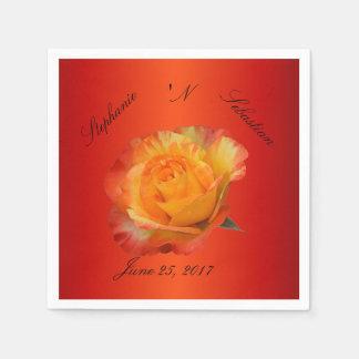 Exquisite Flaming Orange N Yellow Rose Paper Napkins