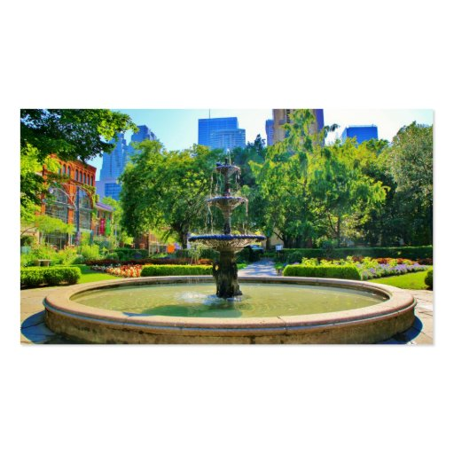 Exquisite Fountain in a Park Business Card Template