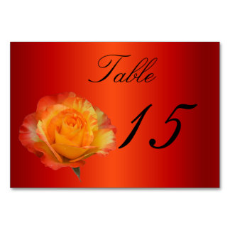 Exquisite Full Bloom Flaming Orange N Yellow Rose Table Cards