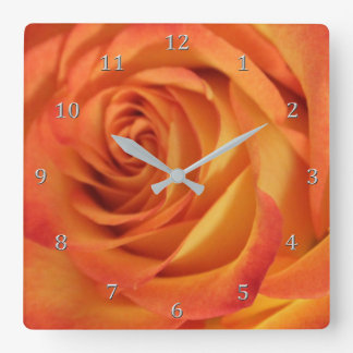 Exquisite Full Bloom Yellow N Flaming Orange Rose Square Wall Clock