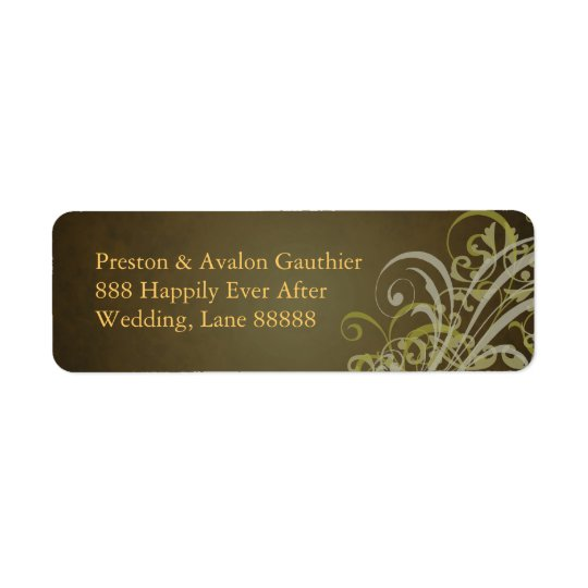 Exquisite Gold Scroll Brown Address Label