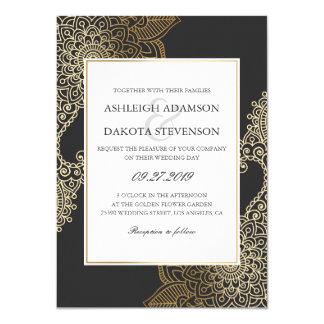 Exquisite Golden Floral Henna Wedding Card