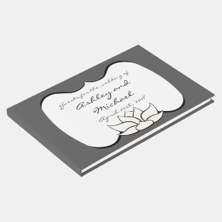 Exquisite Lotus in Pewter and White Guest Book