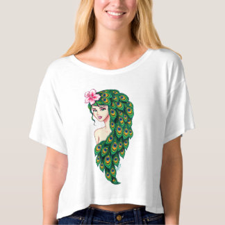 Exquisite Peacock Goddess Art Modern Crop Top