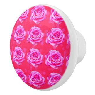 Exquisite Pink Roses On Pink Pattern, Ceramic Knob