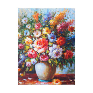 Exquisite Still Life Flowers From Watercolour Canvas Print