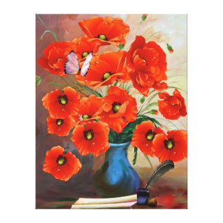 Exquisite Still Life Poppies Canvas Print
