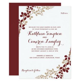 Exquisite Vines Invitation- Burgundy & Tan Card