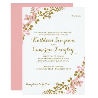 Exquisite Vines Invitation- Coral & Gold Card